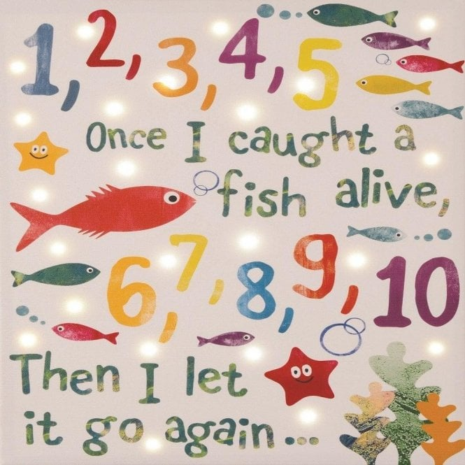 Floss & Rock Illuminated Led Canvas/Picture/Night Light ~ 23 Led 12345..Fish Alive Canvas