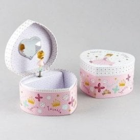 Pretty Princess Heart Shaped Girls Jewellery Box
