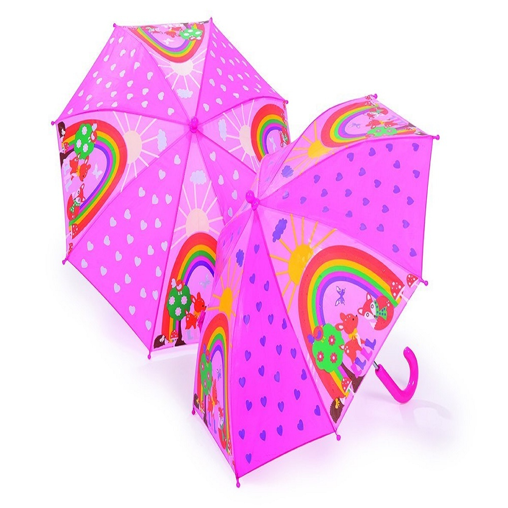 woodland animals pink colour changing umbrella when wet good quality