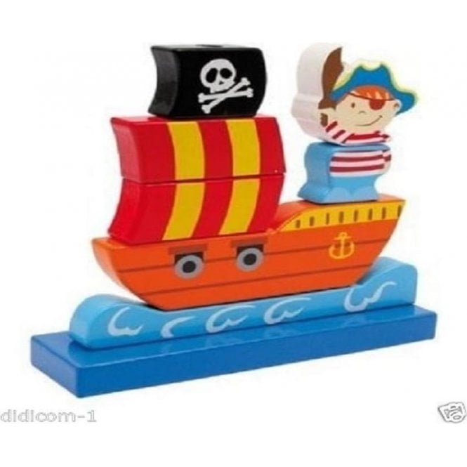 Pijou Pirate Ship Traditional Wooden Stackable Toy