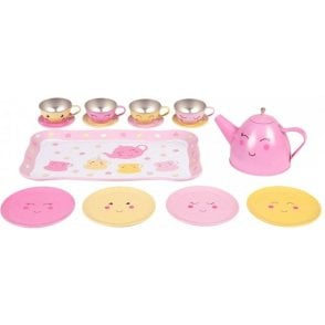 Happy Picnic Box Tea Set Pink and Yellow