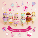 Sonny Angel Birthday Gift Series  6 x Birthday Cake styled Mini Figure Dolls